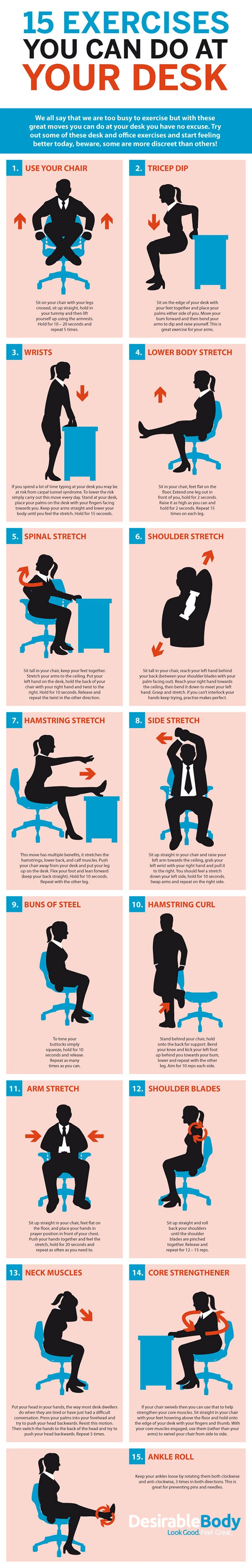 This Graphic Shows Bunch of Desk-Based Exercises for the Office