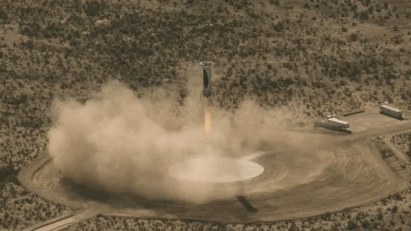 Blue Origin Rocket Landing Looks Absolutely Stunning When Seen From the Booster