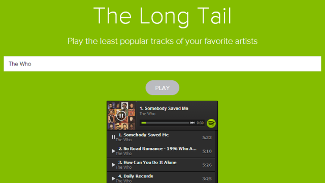 The Long Tail Finds an Artist's Least Popular Songs on Spotify