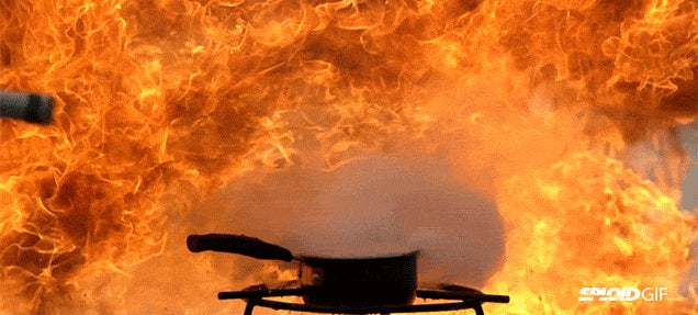 What happens when you pour water on an oil fire in slow motion