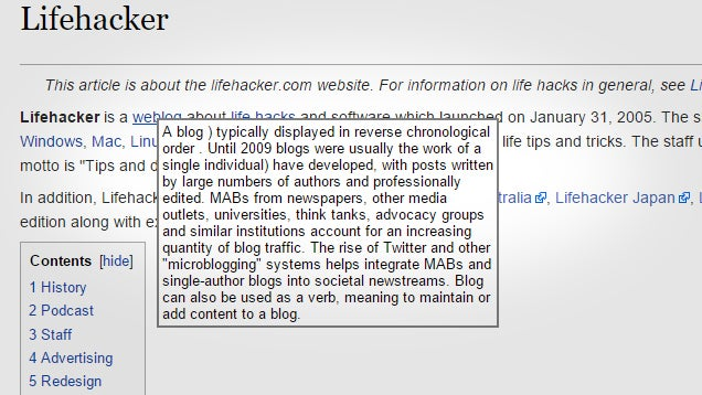 WikiTweaks Adds Pop-Up Summaries, Removes Clutter on Wikipedia