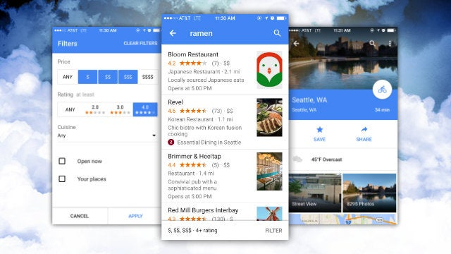 Google Maps for iOS Adds Weather Info, Better Restaurant Search