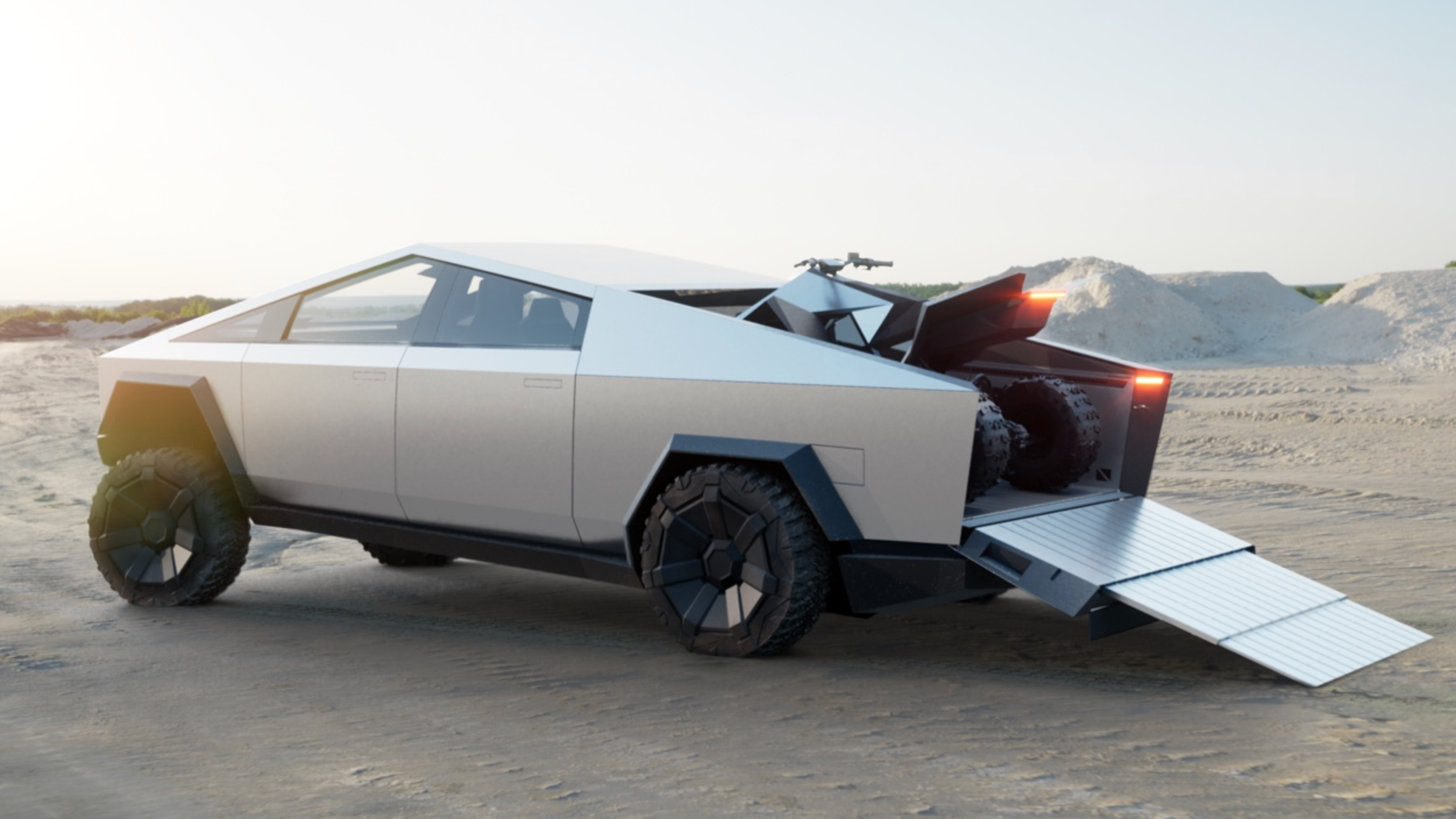 Tesla's Cybertruck Can Charge The Cyberquad In The Bed