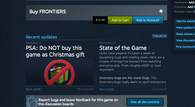 Dev On Steam Warns: 'Do NOT Buy This Game As A Christmas Gift'