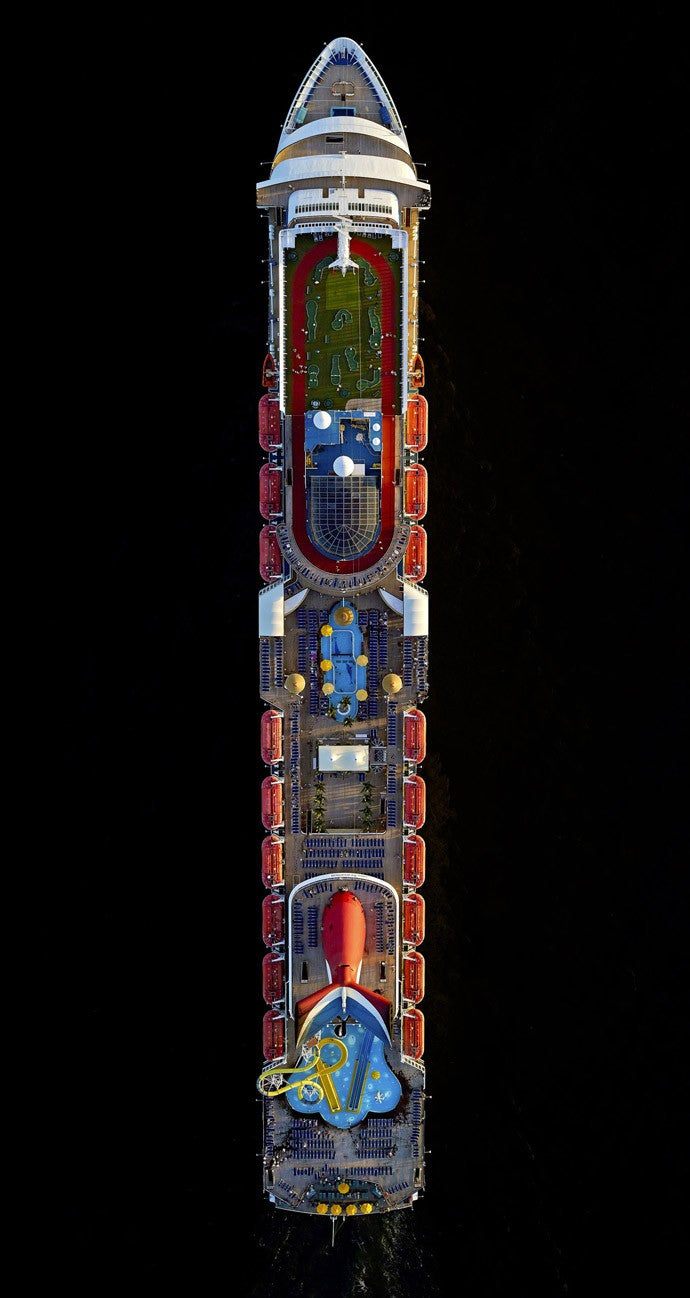 These Mega-Cruise Ships Look Like Small Cities From the Air