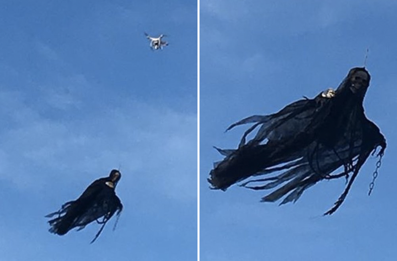 Hero Uncle Terrorizes Public With Drone-Mounted Angel of Death