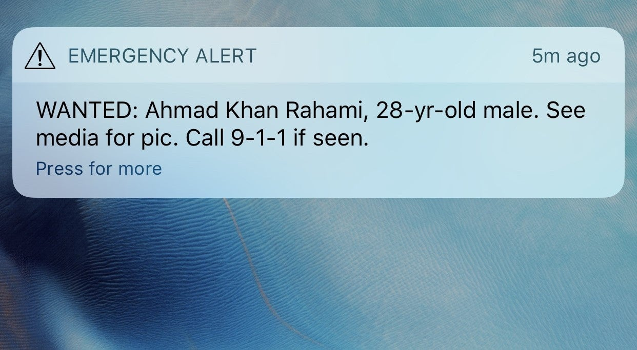 Man Wanted Over NYC Bombing Identified In City-Wide Phone Alert