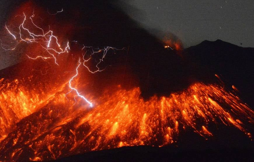 Sakurajima Volcano Erupts in a Spectacular Display of Lightning and Lava