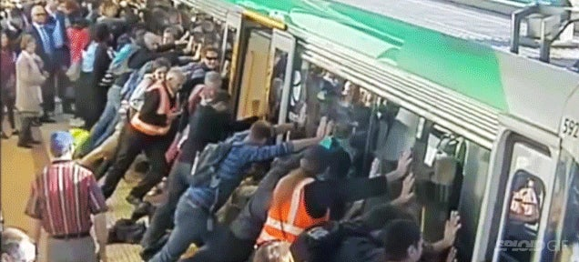 Perth Commuters Tilt And Lift Train Car To Free Trapped Man