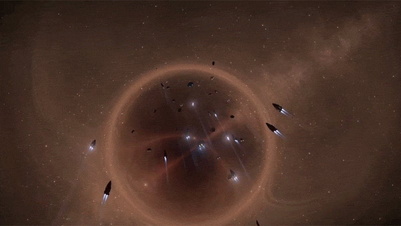 Huge Elite Dangerous Fleet Leaves Galactic Center In a Classy Way