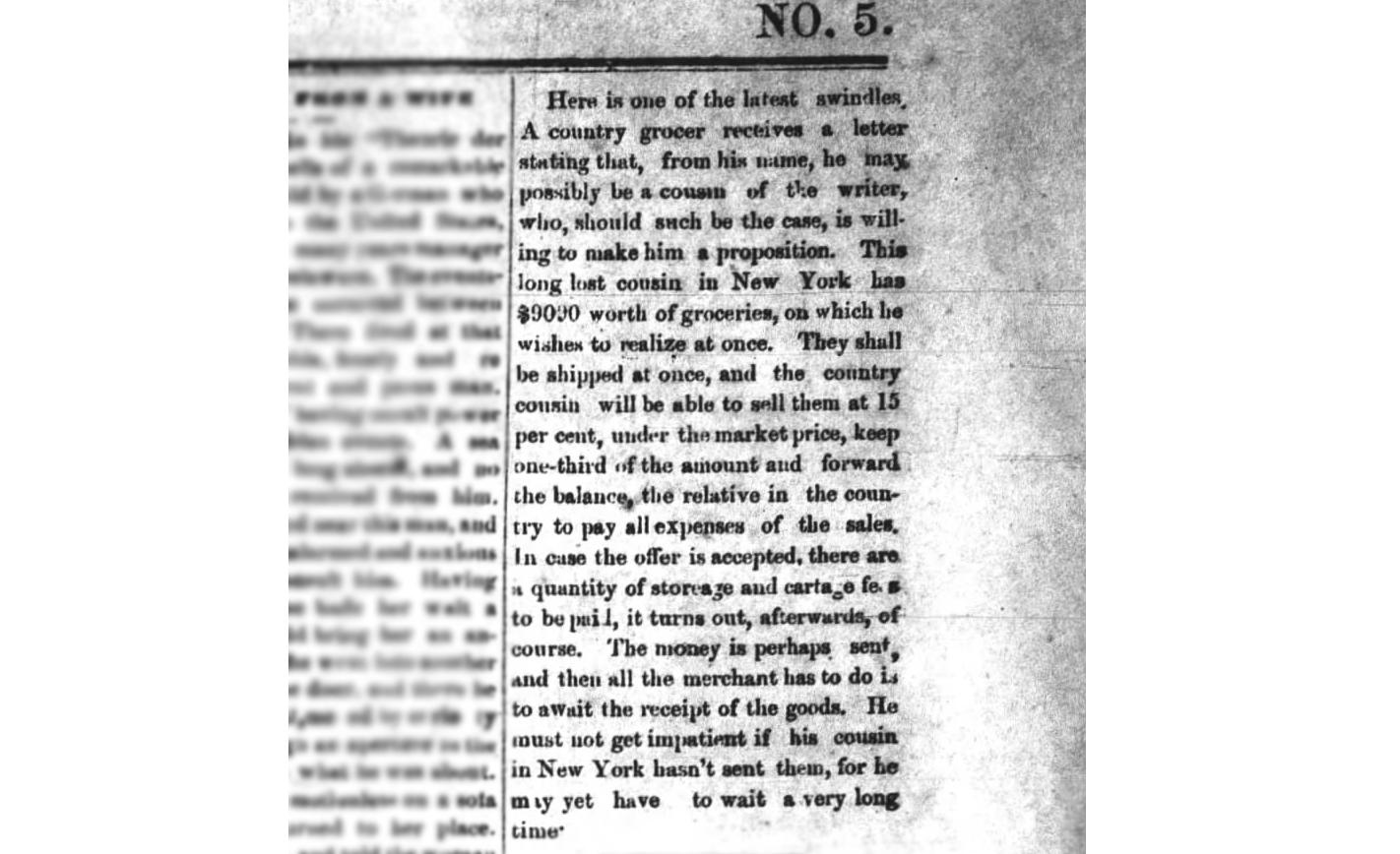 Even the 19th Century Had Needy Nigerian Prince Scams
