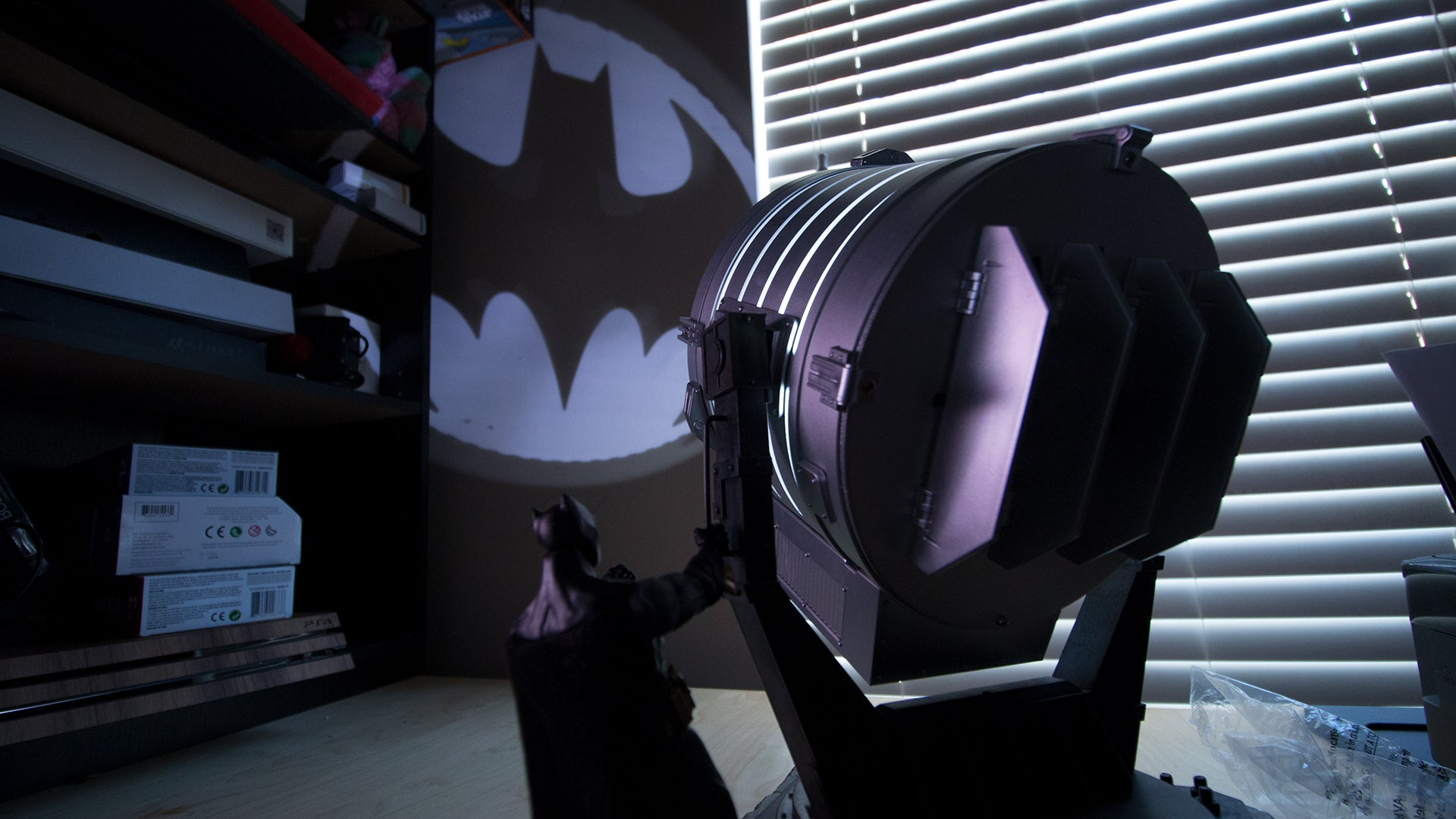 For just 300 you can own a tiny bat signal batman not included even with the overhead light on in my office and my camera lights set up for photos the bat symbol is clearly visible on my ceiling buycottarizona Image collections