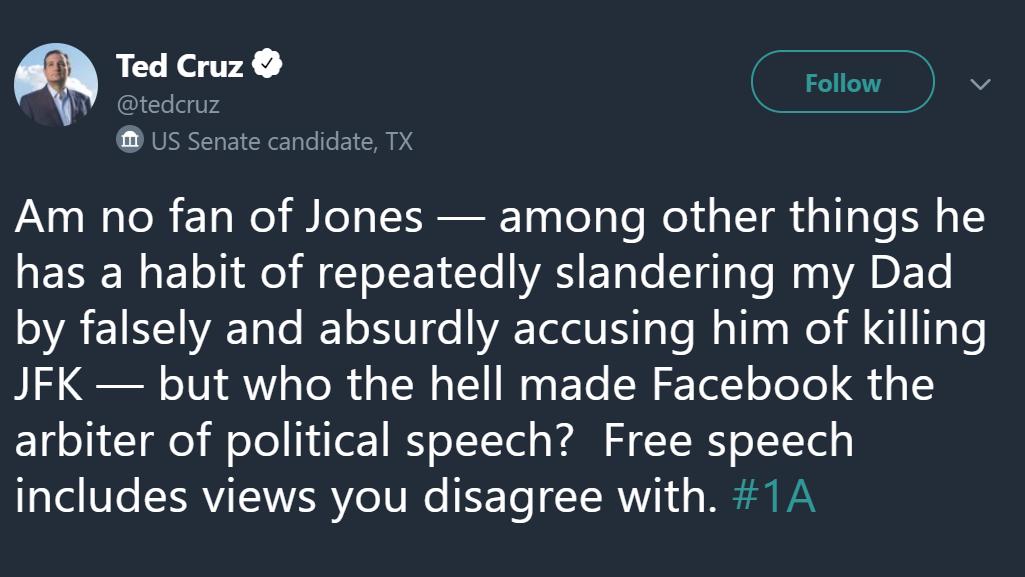 Ted Cruz Bravely Defends Alex Jones Against Facebook's Temporary Internet Jail