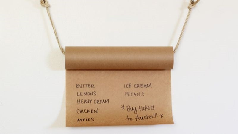 Keep a Rolling Grocery or To-Do List on a Butcher Paper Roll