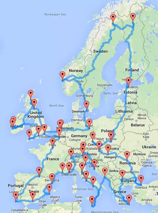 this map shows how to take an epic road trip across europe