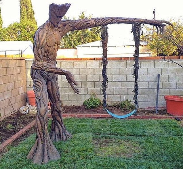 The Luckiest Kid In The Galaxy Has An Amazing Towering Groot Swing