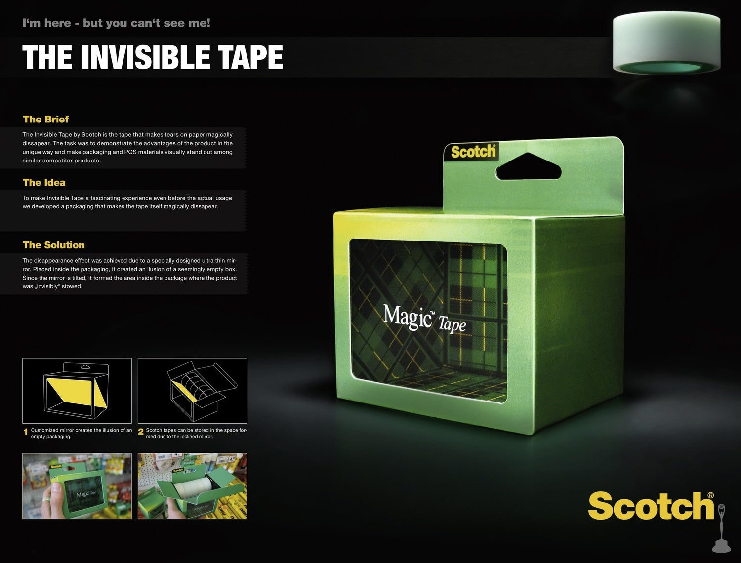 Brilliant Packaging For Invisible Clear Tape Makes the Box Look Empty