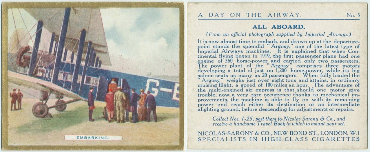 Passenger Air Travel in the 1920s As Told Through Cigarette Cards