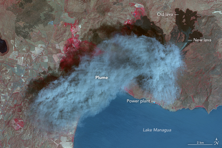 Nicaragua's Momotombo Volcano Is Glorious In False Colour Satellite Imagery