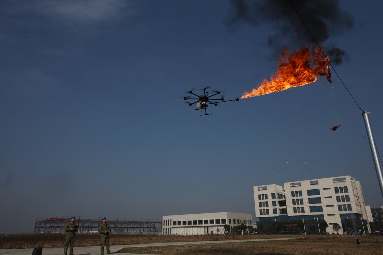Power Company Sends Fire Spewing Drone To Burn Garbage Off