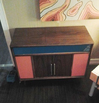 Build Secret Litter Box Storage in a Stereo Cabinet