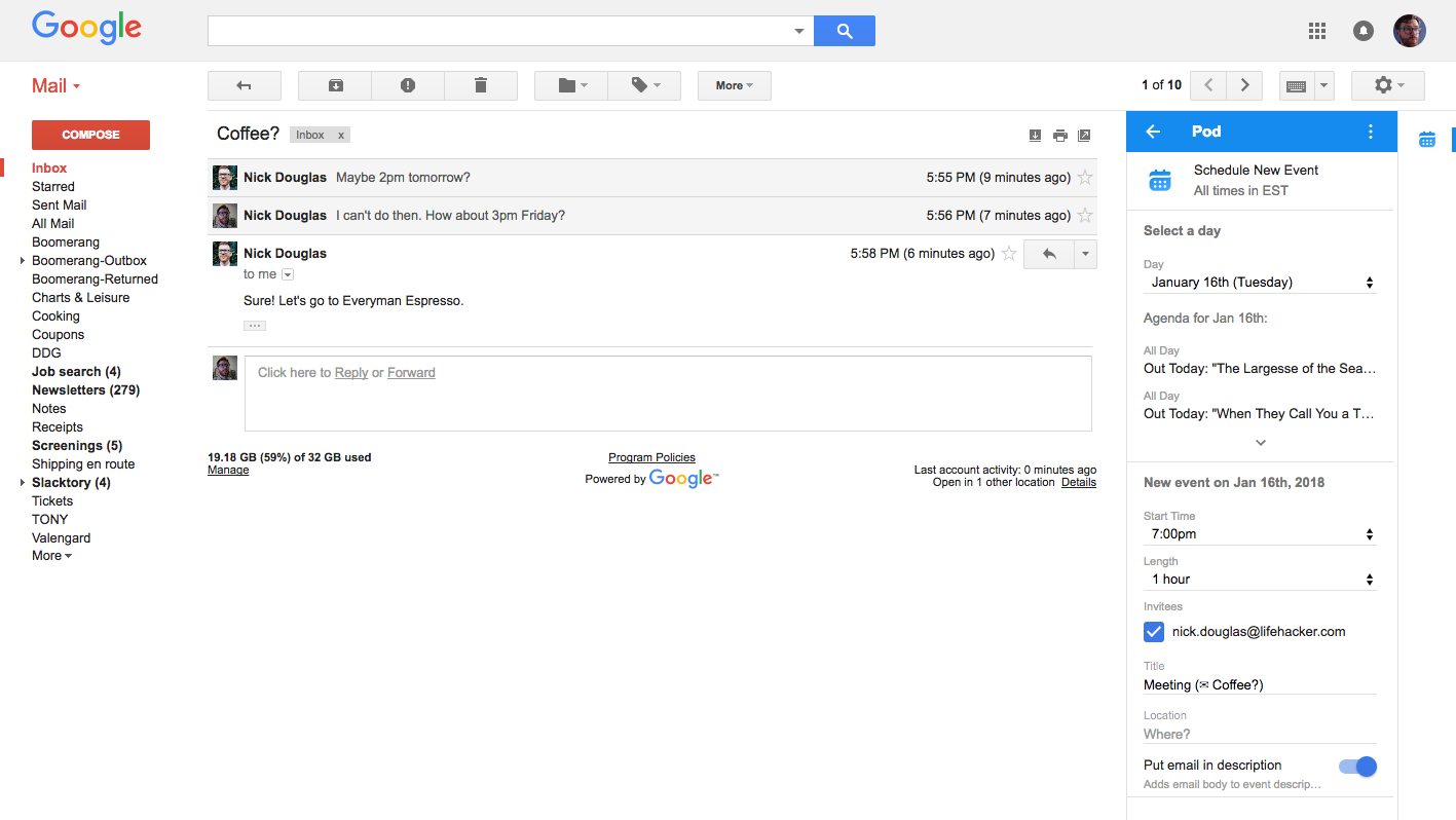Make Calendar Events Inside Gmail With Pod
