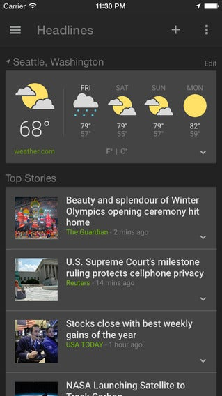 Now You Can Use Google's News and Weather App on iOS