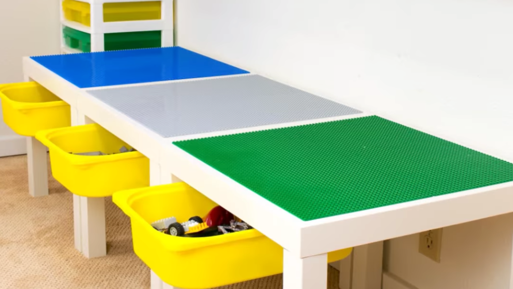 build your kids a lego table with storage drawers. Black Bedroom Furniture Sets. Home Design Ideas