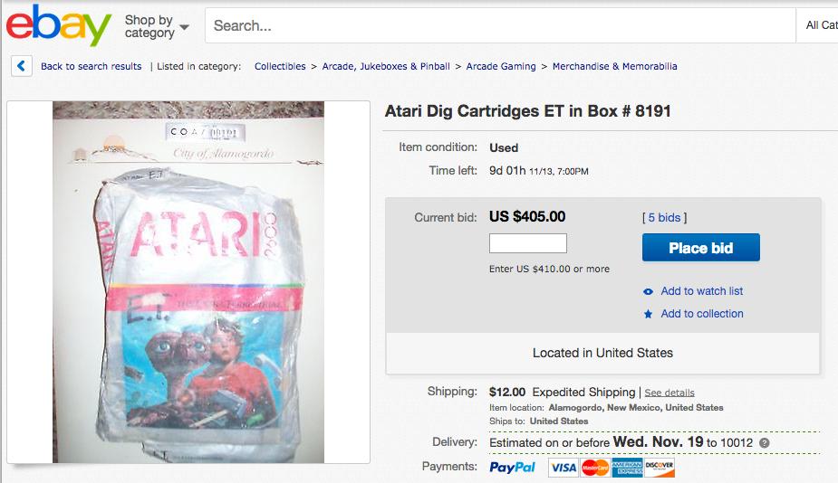 You Can Buy a Buried E.T. Atari Cartridge for a Few Hundred Bucks