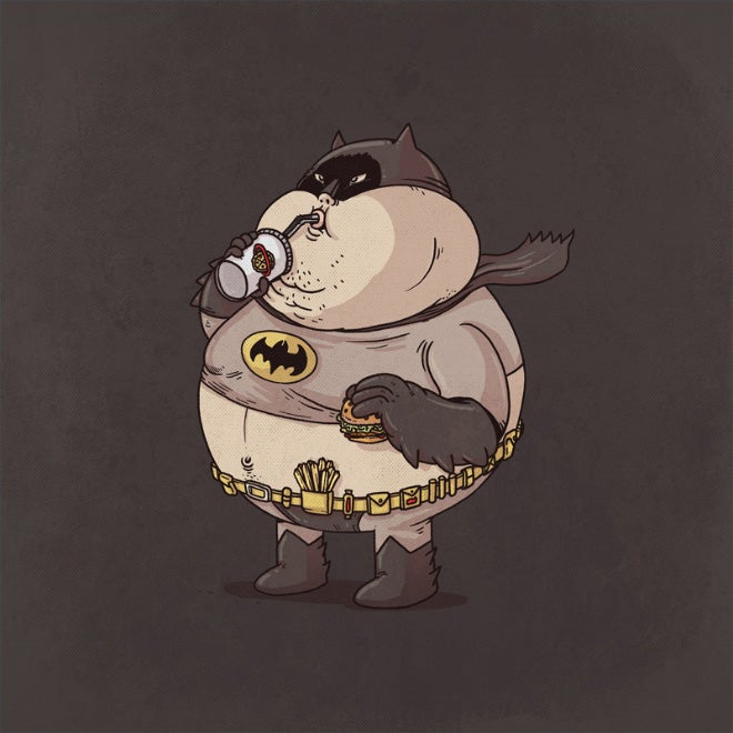 Morbidly obese versions of iconic pop culture characters by Alex Solis