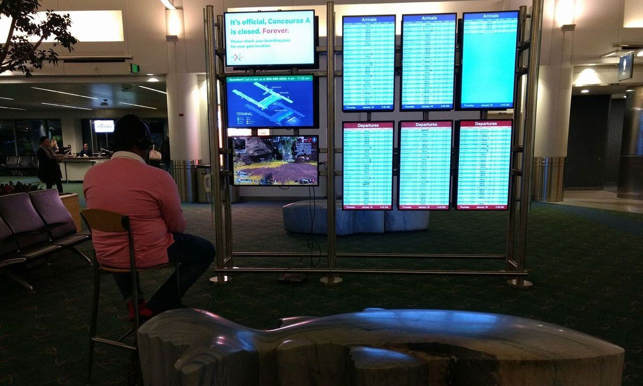Man 'Hijacks' Airport Monitor To Play PS4 Game
