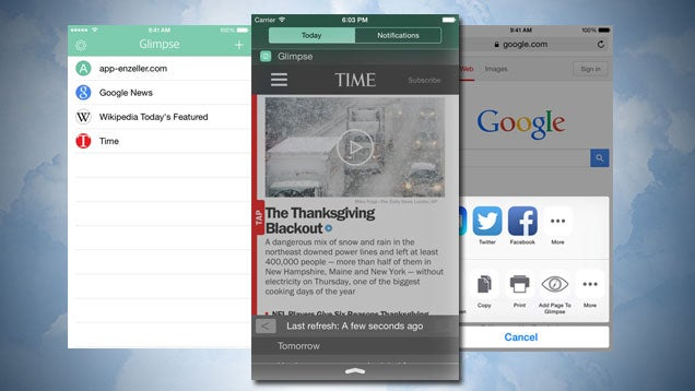 Glimpse Stuffs Your Favourite Sites Into the Notification Center