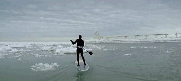 Paddleboarding Among Icebergs