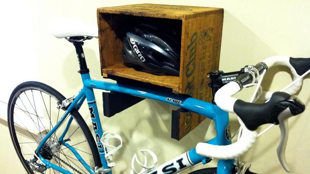 Turn A Crate Into A Bike Rack And Shelf