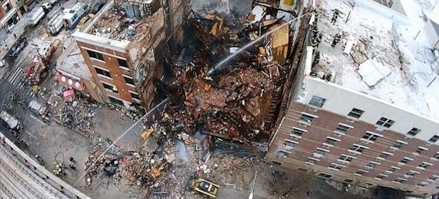Watch This Harrowing Drone Footage of the Building Collapse in Harlem