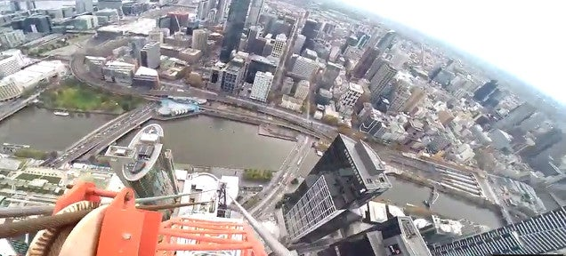 Watch a guy climb a construction crane 997 feet above street level