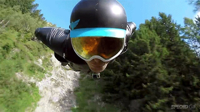 Watching this guy in a wingsuit fly impossibly close to the ground almost made me faint