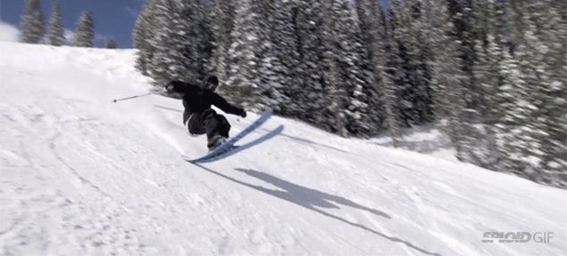 This skier must be a wizard or use anti-gravity skis