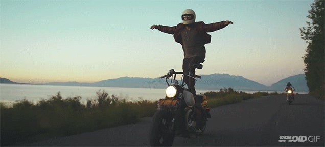 Motorcycle surfing at high speeds looks like a crazy way to have fun