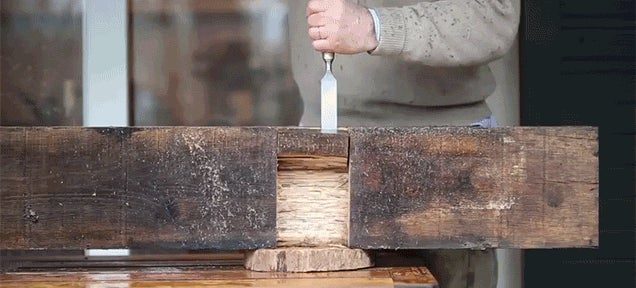 Transforming a Wooden Beam from a Railroad Track into a Bench