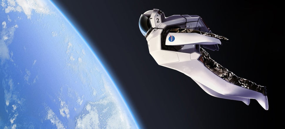 Would you like to jump from low Earth orbit using this awesome suit?