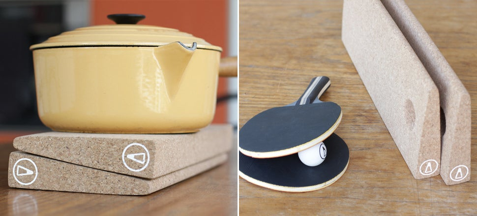 This Cork Pot Holder Secretly Serves As a Ping Pong Net For After Dinner