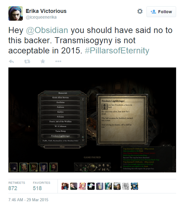 Pillars Of Eternity Fan Text Changed After Player Complaints