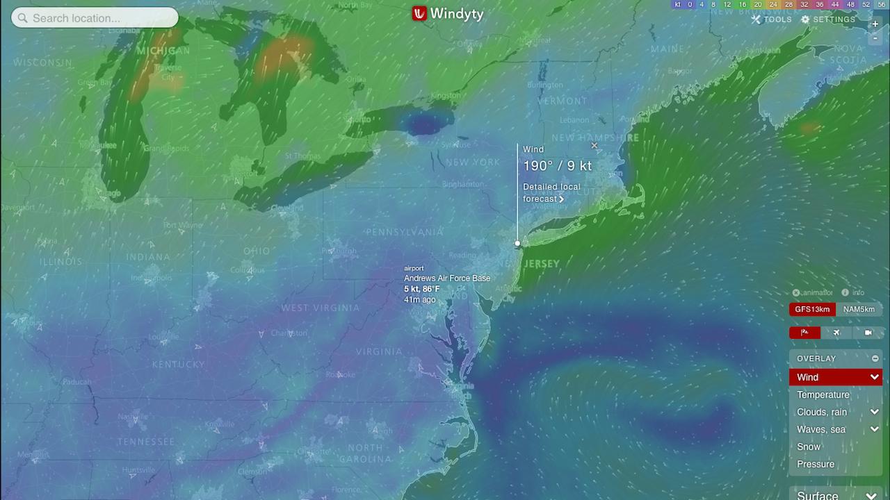 Popular 190 List interactive weather map